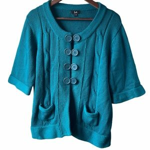Thick knit 3/4 sleeve teal cardigan
